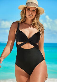 Cut Out Underwire One Piece Swimsuit, BLACK