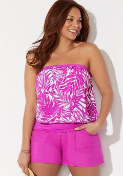 Bandeau Blouson Tankini Set with Side Slit Skirt,