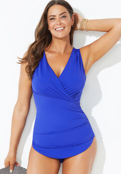 Surplice Sarong Front One Piece Swimsuit,