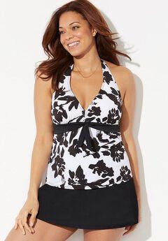 Halter Tankini Set with Side Slit Skirt,