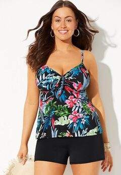 Tie Front Underwire Tankini Set with Banded Short,