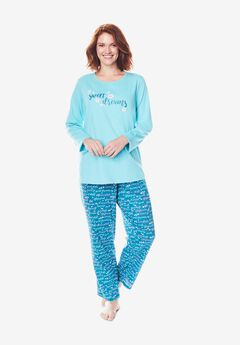 Long Sleeve Knit PJ Set ,