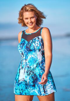 Mesh-Trim Swim Dress by Swim 365,