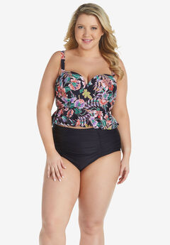 Cropped Flounce Swim Top ,