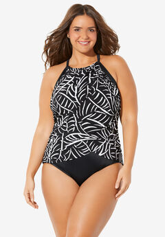 High-Neck Ruched One-Piece ,
