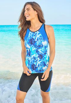 Colorblock Tankini Top with Sun Protection ,