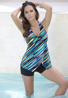 Flared Halter Tankini Top by Swim 365,