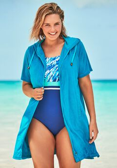 Hooded Terry Swim Cover Up ,