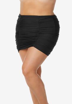 Shirred High-Waist Swim Skirt ,