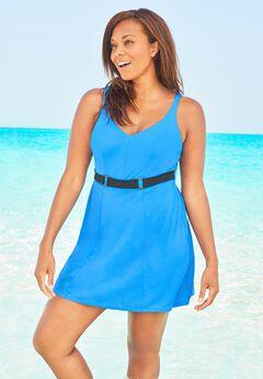 Underwire Belted Swim Dress ,