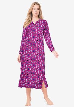 Long-Sleeve Henley Print Sleepshirt ,