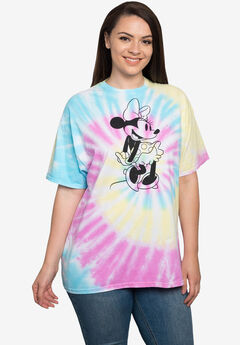 Disney Womens Plus Size Minnie Mouse Short Sleeve Tie-Dye T-Shirt Retro,