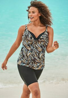 Two-In-One Blouson Tankini Top ,