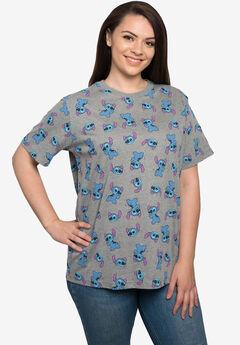 Women's Disney All-Over Print Stitch Short Sleeve T-Shirt Gray,