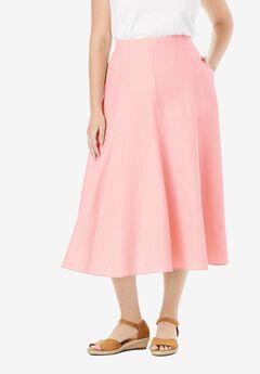 Print Linen-Blend Skirt,