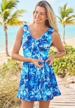 Faux-Wrap Swim Dress ,