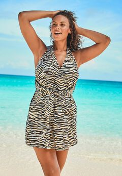 Surplice Halter Swim Dress ,