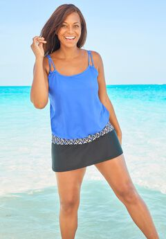 Double-Strap Blouson Tankini Top,