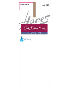 Silk Reflections Knee Highs Sheer Toe 6-Pack,