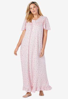 Long Floral Print Cotton Gown ,