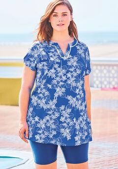 Longer Length Short-Sleeve Swim Tunic,