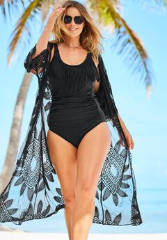 Open-Front Embroidered Cover Up ,