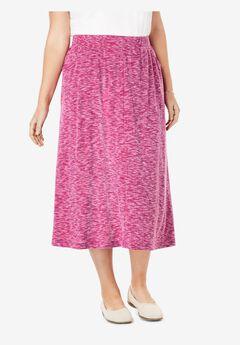 Rib-Knit Elastic-Waist Maxi Skirt,