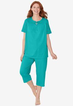 Lace-Trim Cotton Jersey PJ Set,