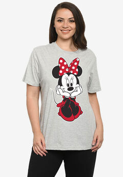 Disney Women's Minnie Mouse Sitting Short Sleeve T-Shirt Gray,