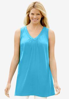 Perfect Sleeveless Shirred V-Neck Tunic,