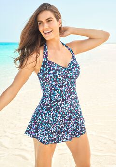 Retro Halter Swim Dress ,