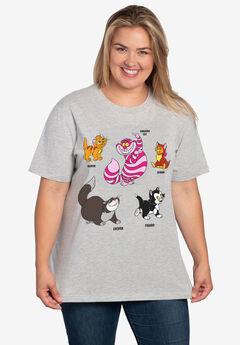 Disney Cats Short Sleeve T-Shirt Cheshire Cat Figaro Gray,