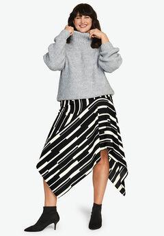 Hanky-Hem Midi Skirt,