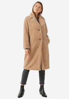 Long Plush Faux Fur Coat by ellos®,