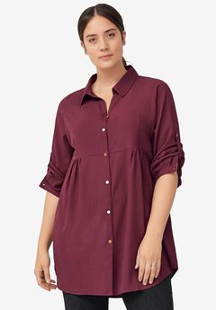 Button Front Empire Tunic by ellos®,