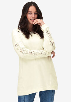 Lace Trim Sweatshirt Tunic by ellos®,