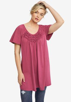 Smocked Scoop-Neck Tunic by ellos®,