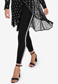 Glitter Side Stripe Ponte Leggings by ellos®,