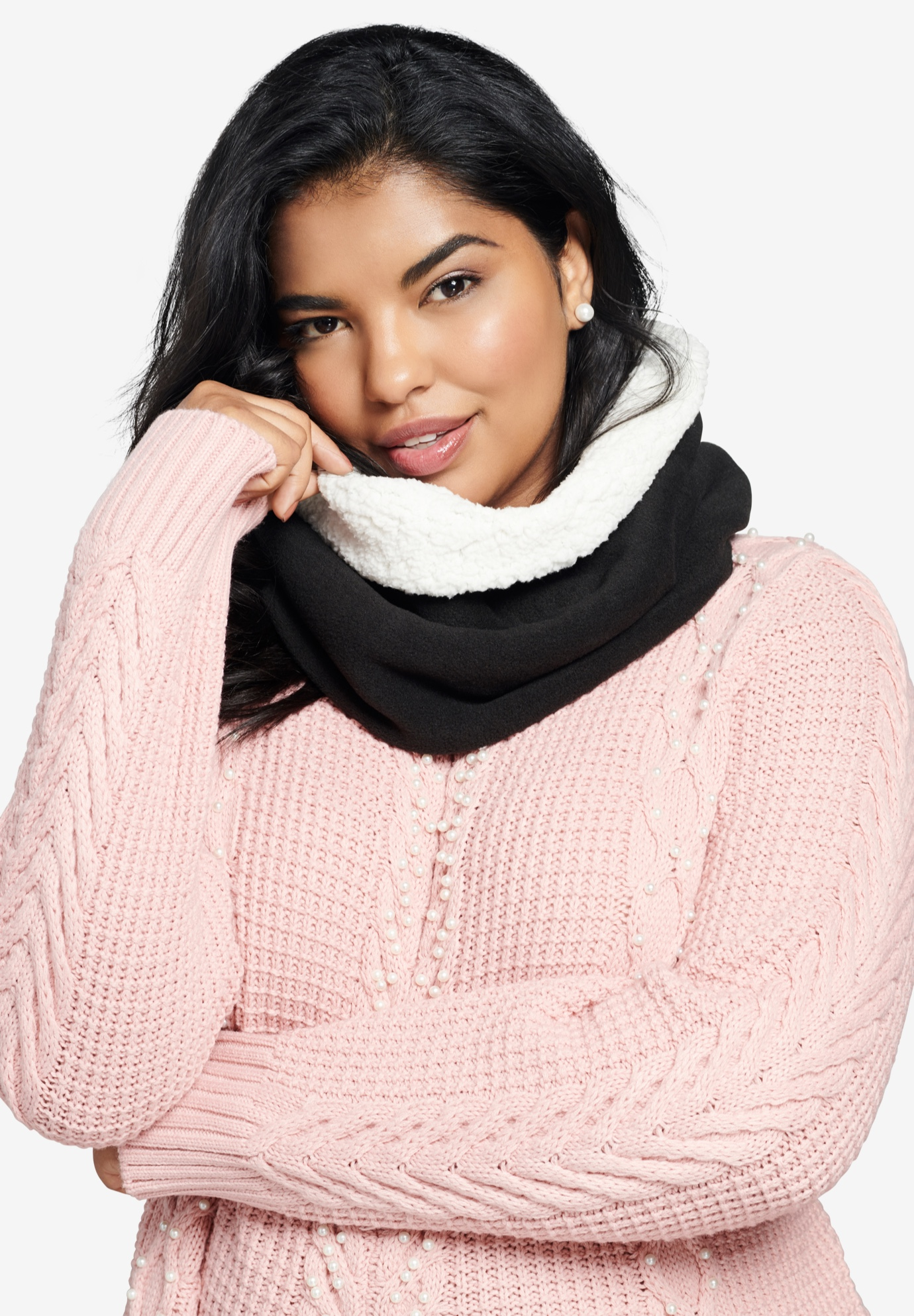 Sherpa Pullover Scarf, BLACK