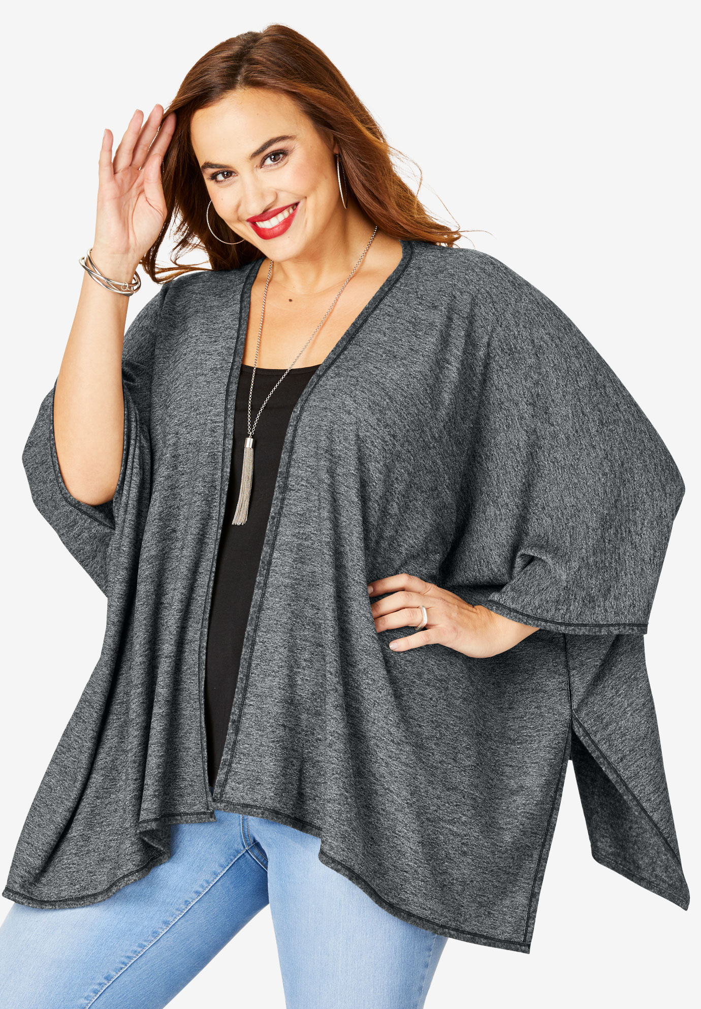 Supersoft Kimono, HEATHER CHARCOAL