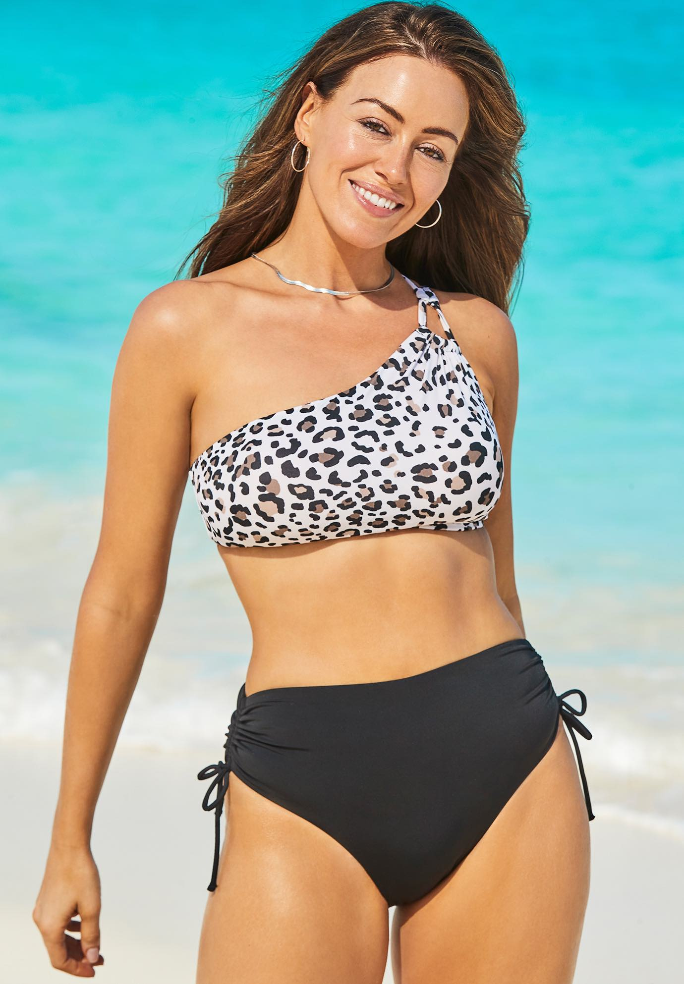 Virtuoso One Shoulder Bikini Set with Ruched Side Tie Brief,