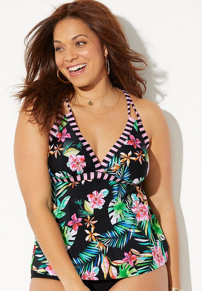 Loop Strap Tankini Top, PINK TROPICAL STRIPE
