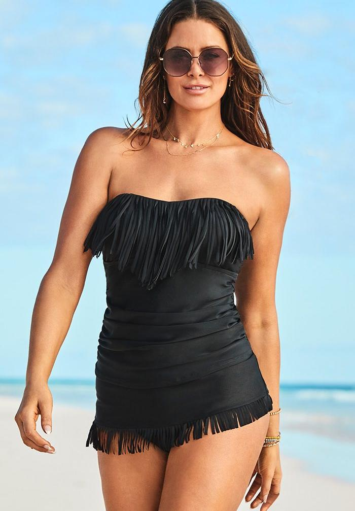 Fringe Bandeau Tankini Set with Sarong Skirt,