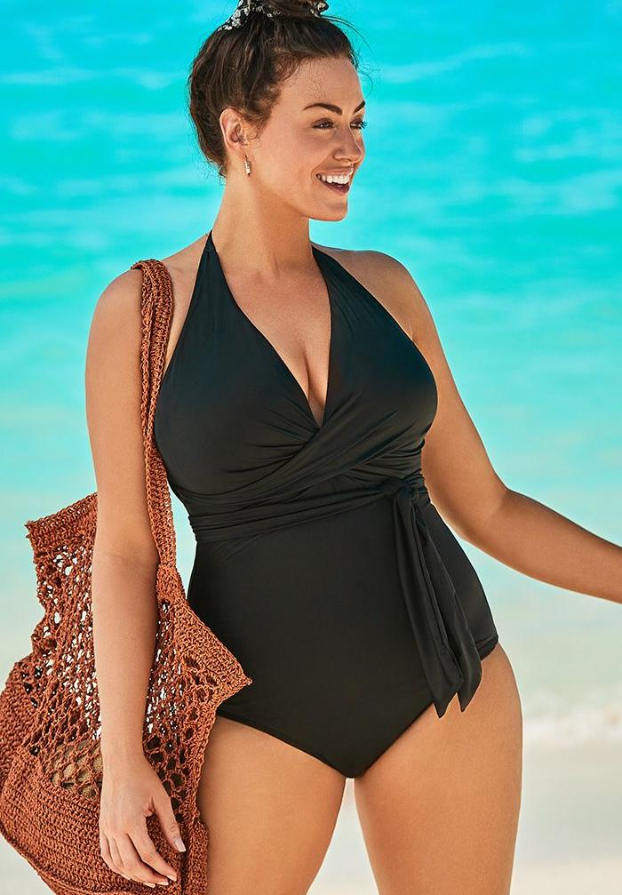 Faux Wrap Halter One Piece Swimsuit,