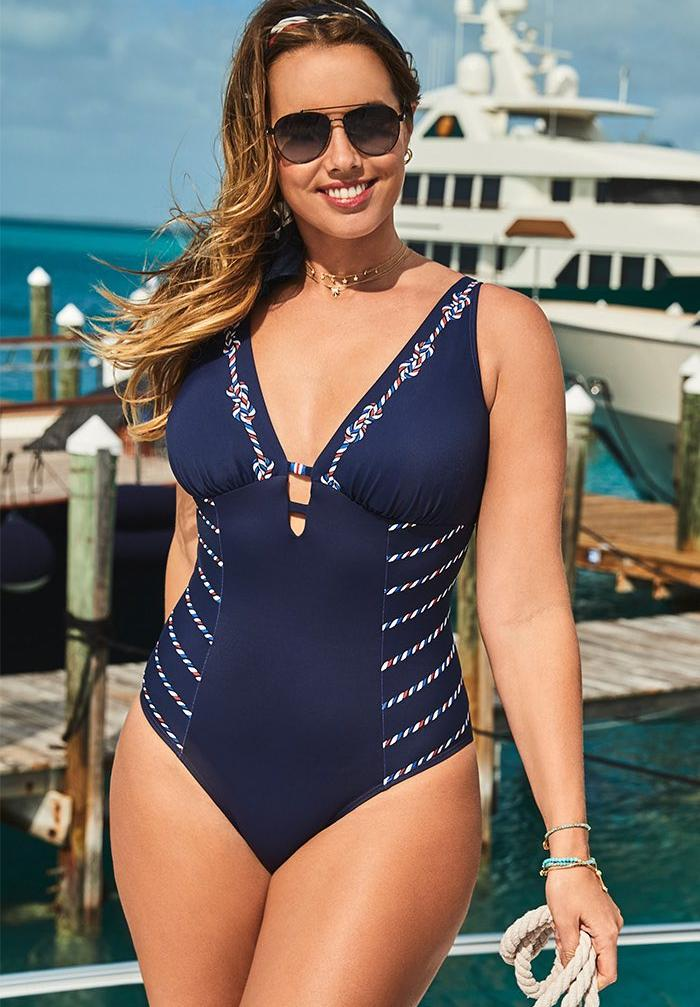 Deep V-Neck One Piece Swimsuit,