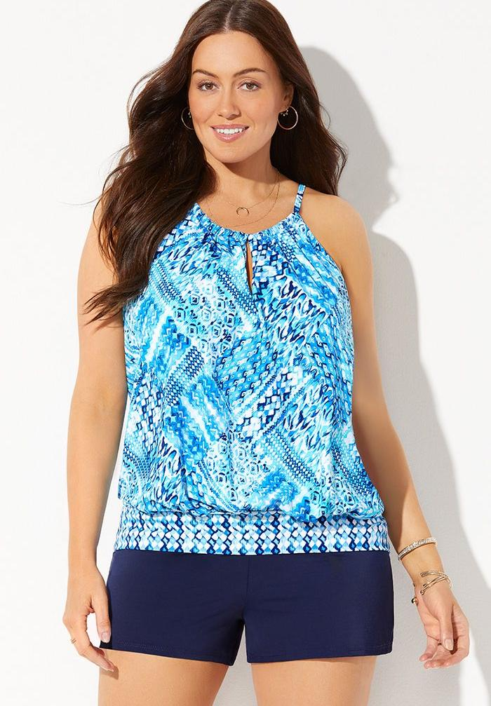 High Neck Blouson Tankini Set with Banded Short,