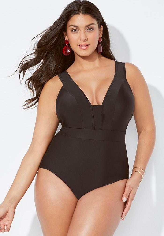 Plunge V-Neck One Piece Swimsuit,