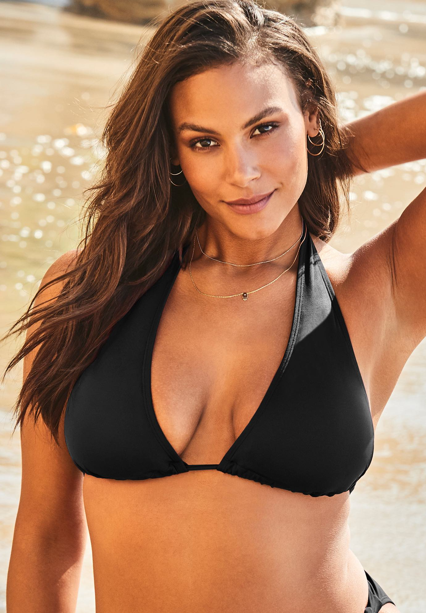 Ashley Graham Elite Triangle Bikini Top, BLACK