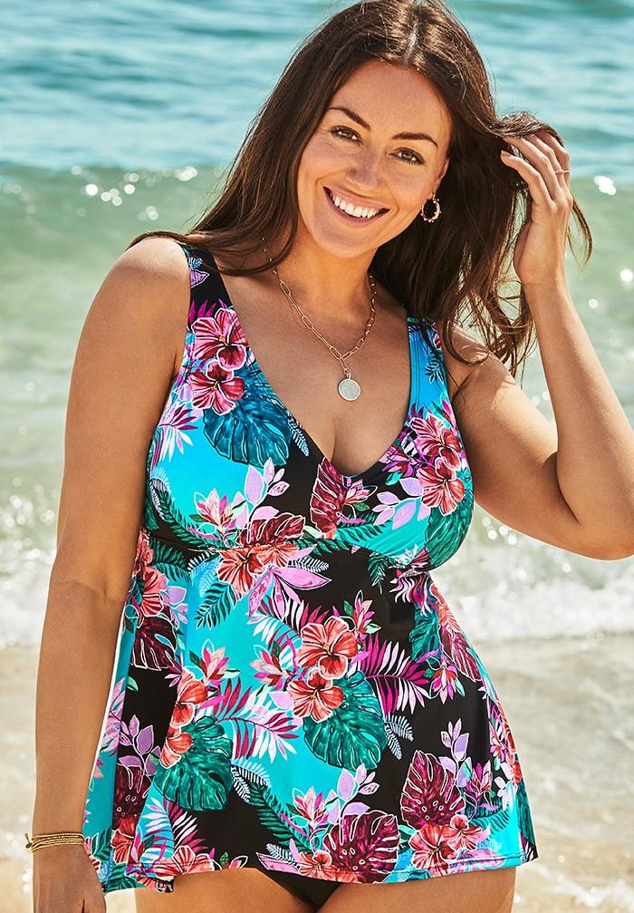 V-Neck Flowy Tankini Top, TEAL GROUND