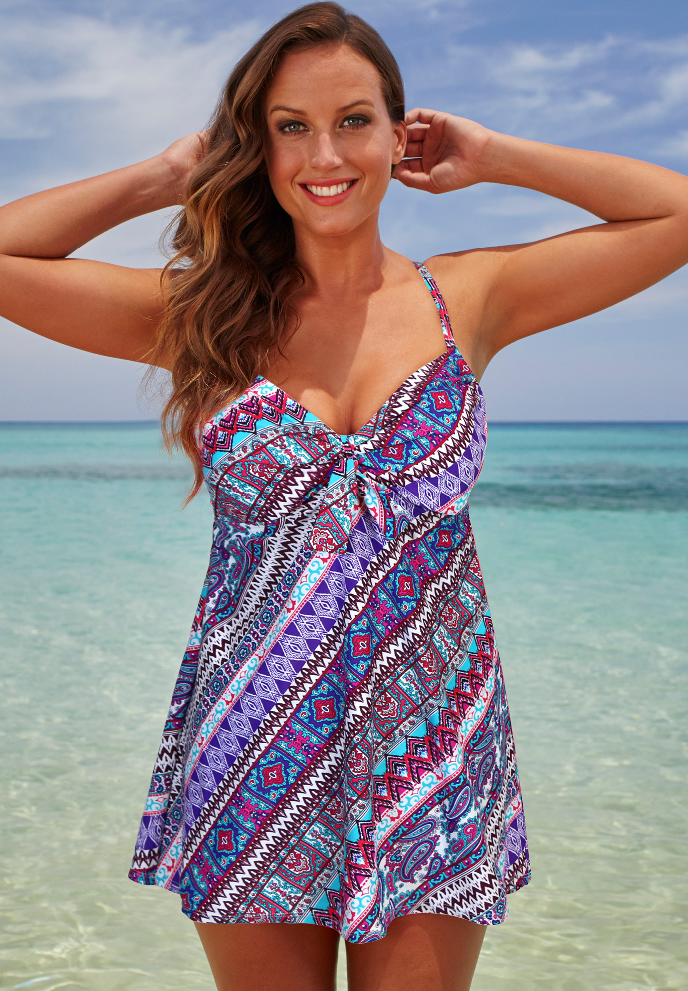 Cup Sized Tie Front Underwire Swimdress,